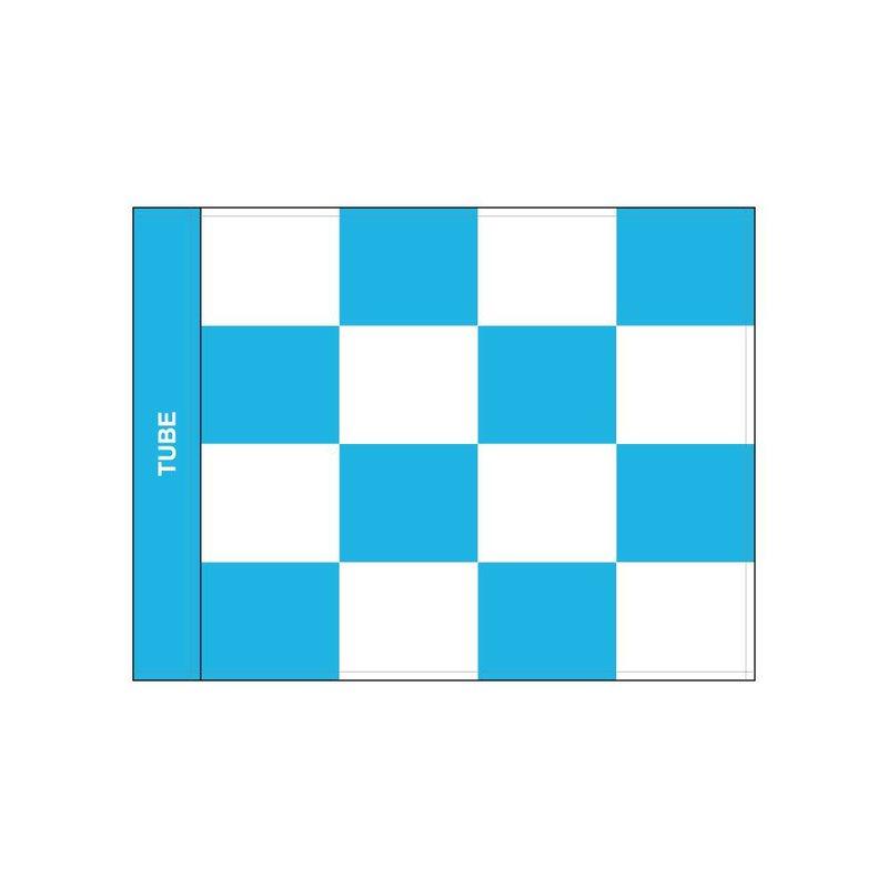 Golf flag checkered, white - light blue