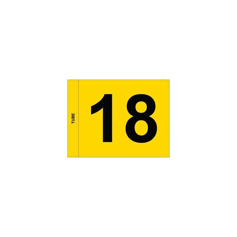 Putting green vlag, genummerd, geel