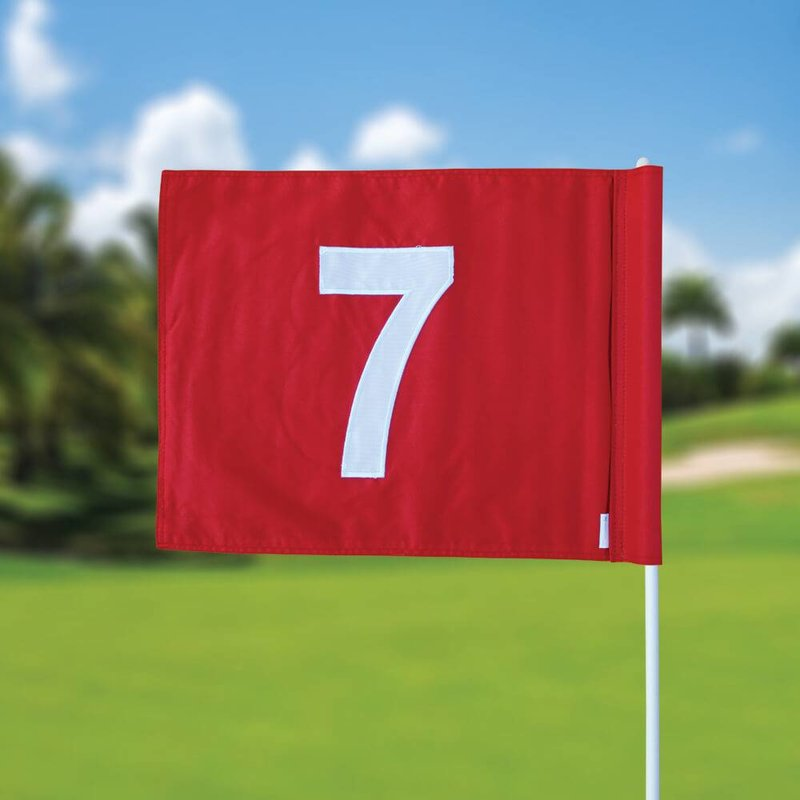 Golf flag, numbered, red