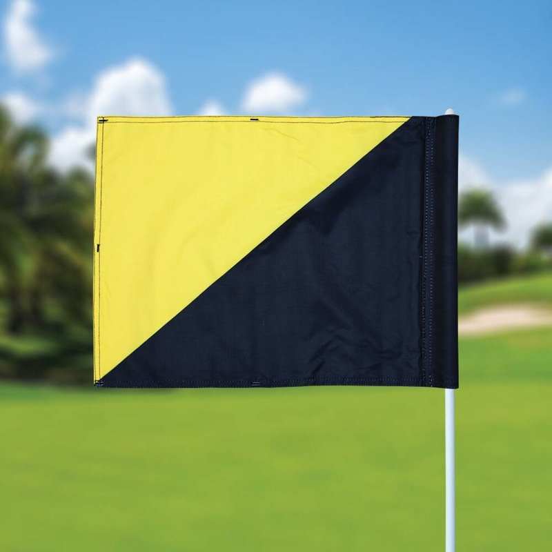 Golf flag, semaphore, black - yellow