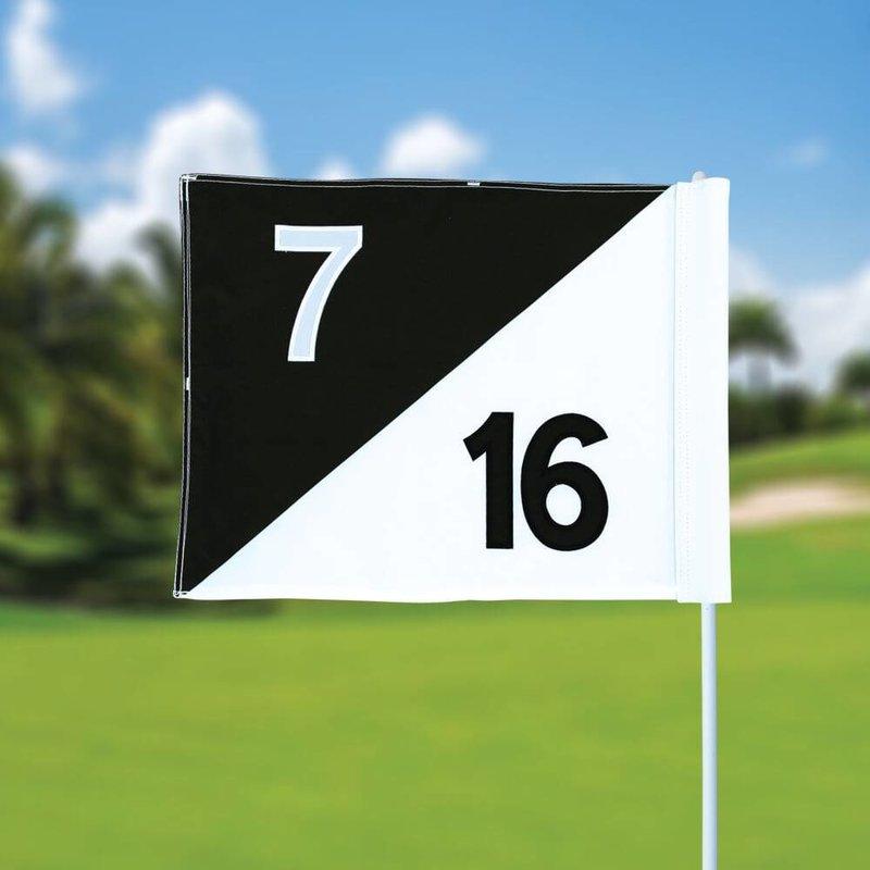 Golfvlag, semaphore, genummerd, wit - zwart