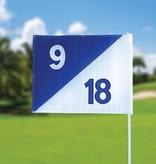 Golf flag, semaphore, numbered, white - blue