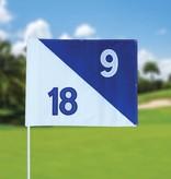 Golfvlag, semaphore, genummerd, wit - blauw