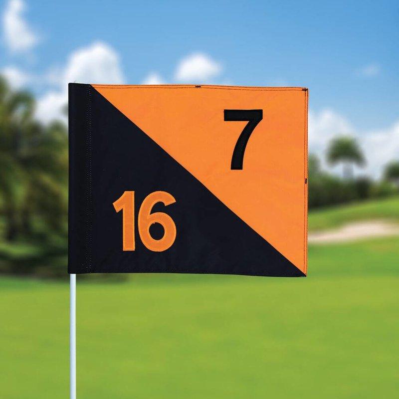 Golfvlag, semaphore, genummerd, zwart - oranje