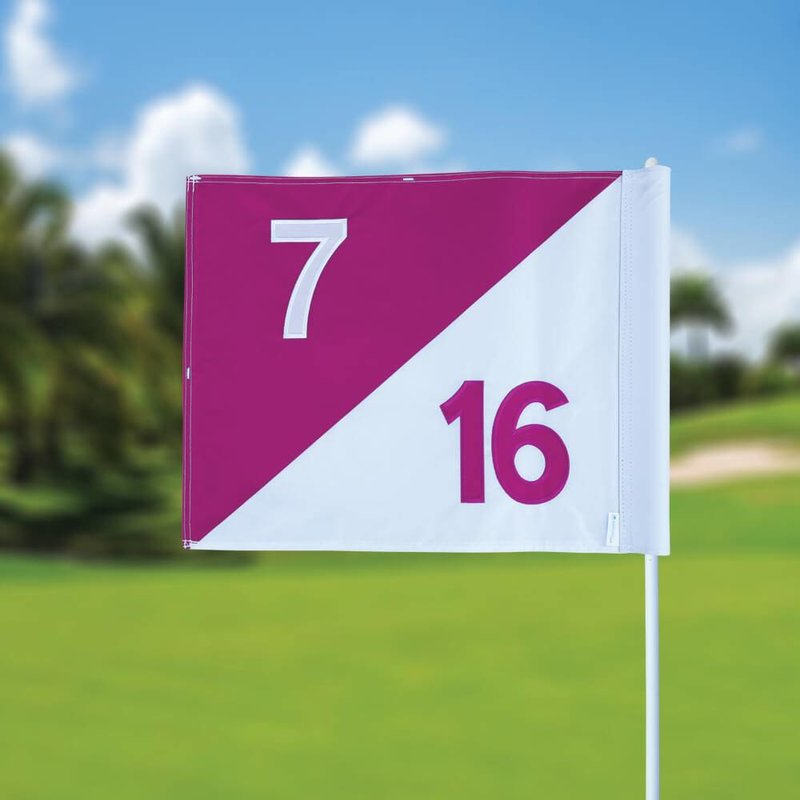 Golf flag, semaphore, numbered, white - pink
