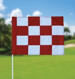 Golf flag, checkered, white - red