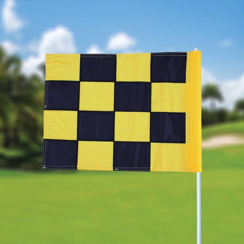Golfvlag, checkered, zwart - geel