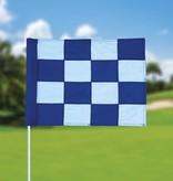 Golfvlag, checkered, wit - blauw