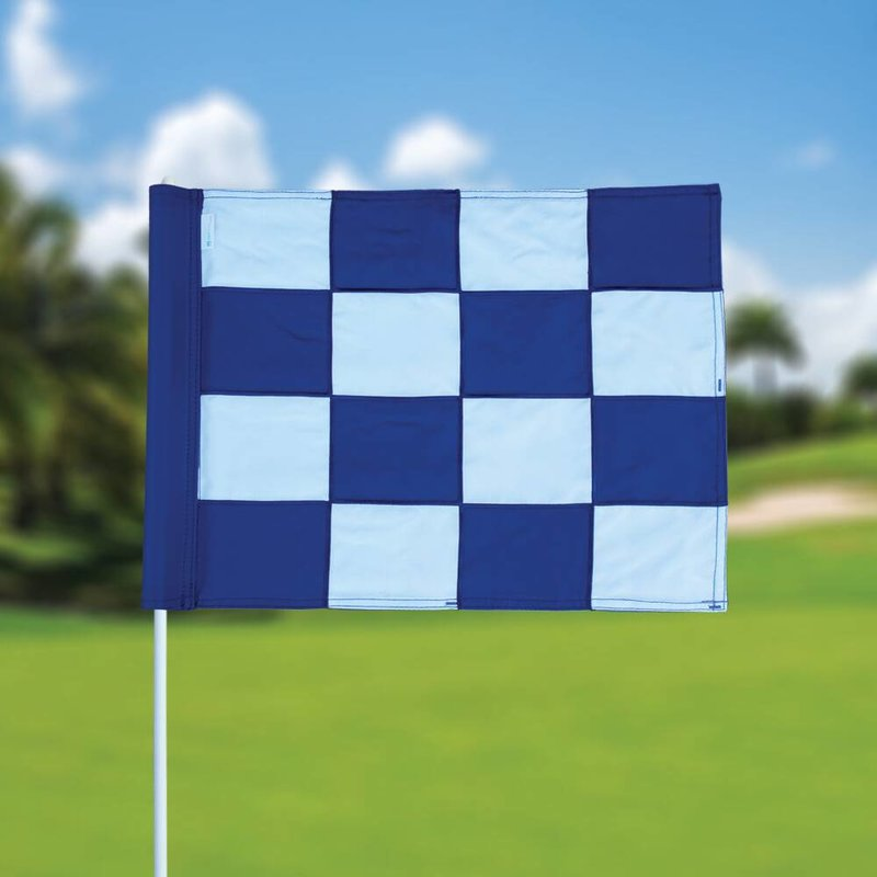 Golf flag, checkered, white - blue