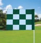 Golfvlag, checkered, wit - groen
