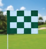 Golf flag, checkered, white - green