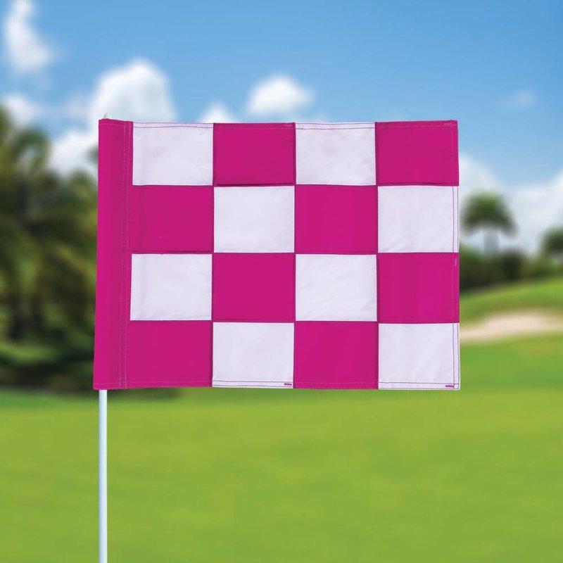 Golf flag, checkered, white - pink