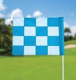 Golfvlag, checkered, wit - lichtblauw