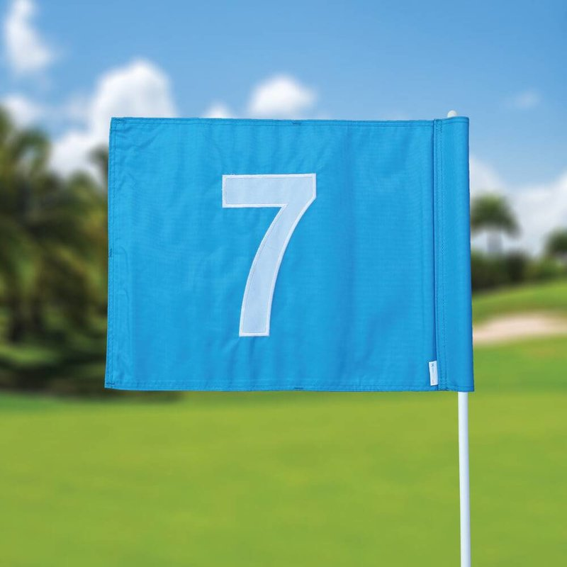 Golf flag, numbered, light blue
