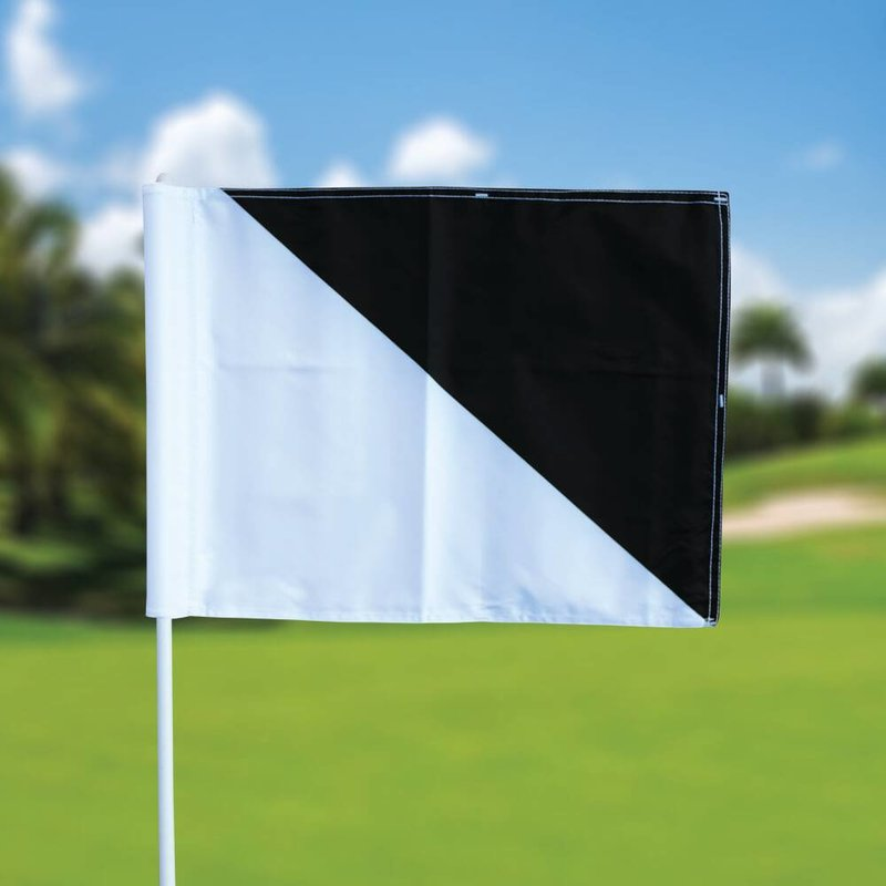 Golf flag, semaphore, white - black