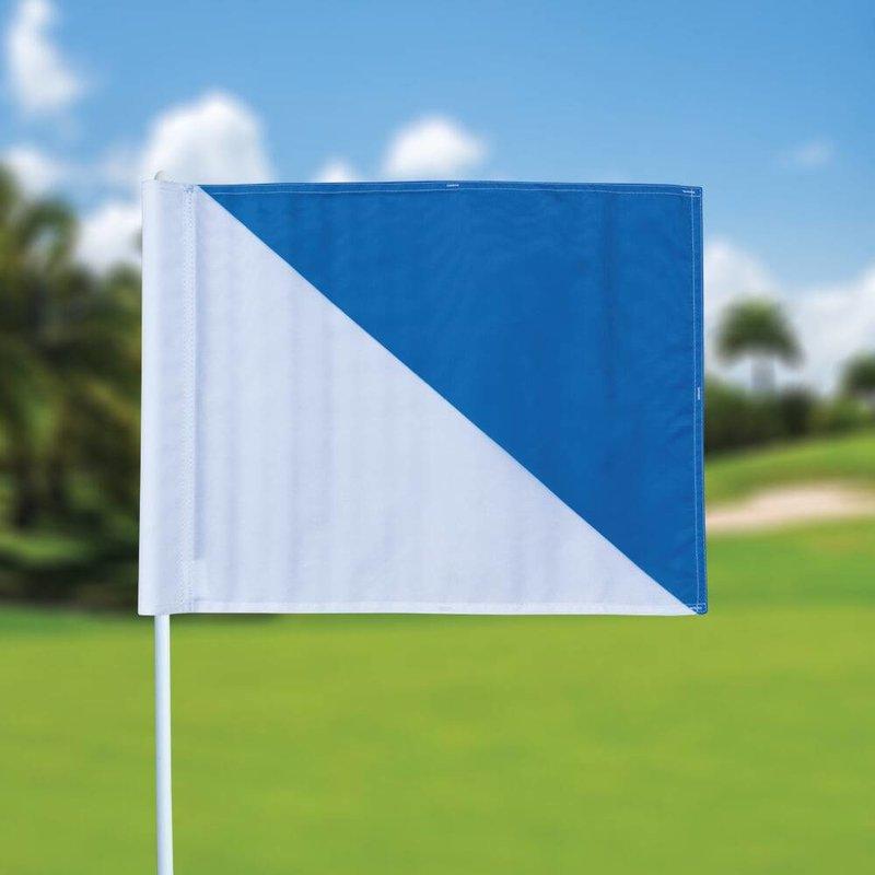 Golf flag, semaphore, white - light blue