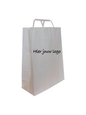 Papieren draagtassen met plat papieren handgreep 22x12x29cm