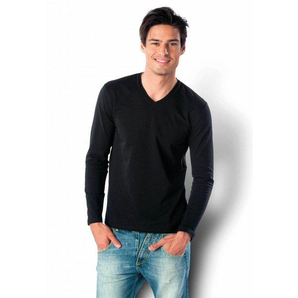Tee-shirt homme col V manches longues