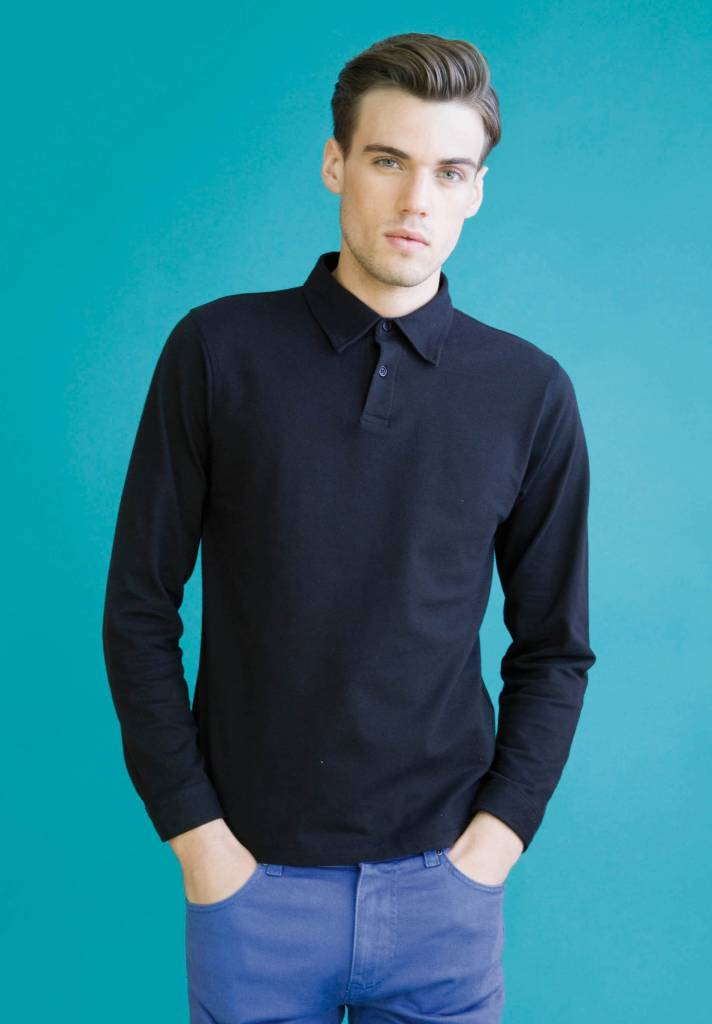 skinnifit polo homme stretch manches longues
