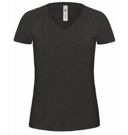 B&C tee-shirt femme slub col V manches courtes