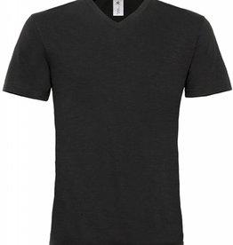B&C tee-shirt homme slub col V manches courtes