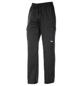 EGOCHEF pantalon cuisine noir avec cordon de serrage