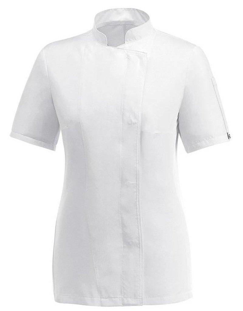 Egochef veste cuisine femme blanche manches courtes nibetex v tement de travail objets - Veste cuisine femme manche courte ...