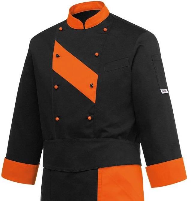veste cuisine patch orange nibetex vtement de travail objets publicitaires - Veste De Cuisine Orange