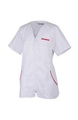 ROBUR Robur tunique médicale femme Lis en blanc et parement rose