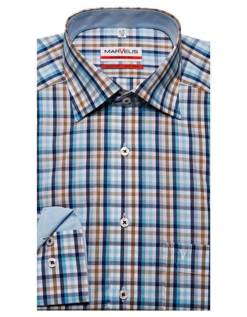Bruin Overhemd.Marvelis Strijkvrij Overhemd Modern Fit Blauw Wit Bruin Blokje New
