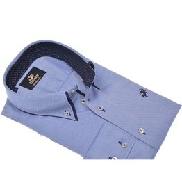 Culture Modern Fit blue. Dobby, double collar, Button down kraag
