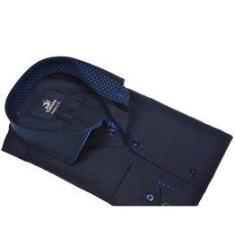 Culture Modern Fit donkerblauw. Uni satijn, piping on collar, new kent kraag