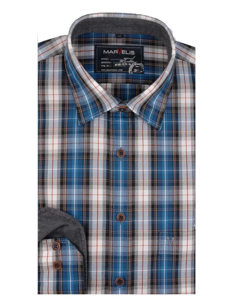 Geblokt Overhemd.Marvelis Casual Overhemd Geblokt New Kent Kraag 6005 64 16 Q