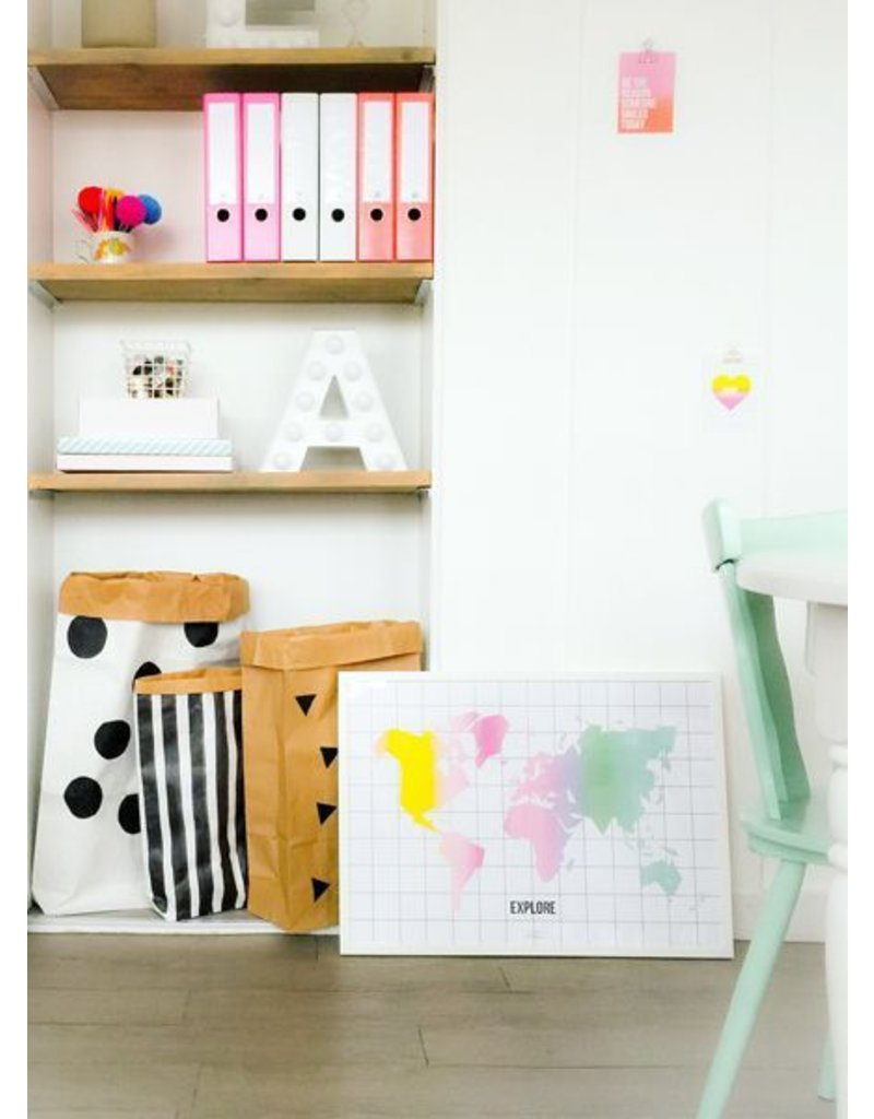 Stationery Taste The Rainbow World Map - Poster