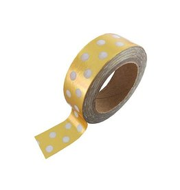 Stationery Masking Tape - Gold & White Dotted