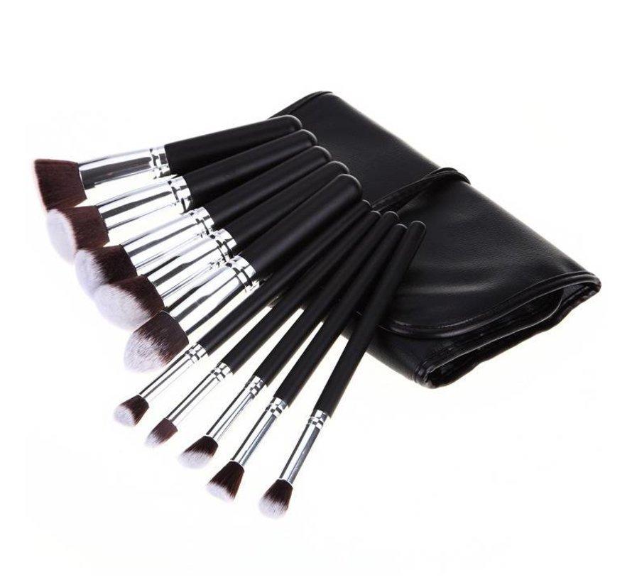 Brush Set 10 Piece Black & Silver