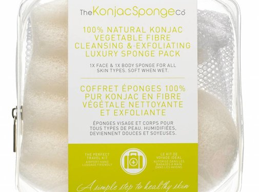 The Konjac Sponge Deluxe Duo Travel Pack Pure