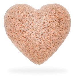 The Konjac Sponge Heart Puff Pink Clay