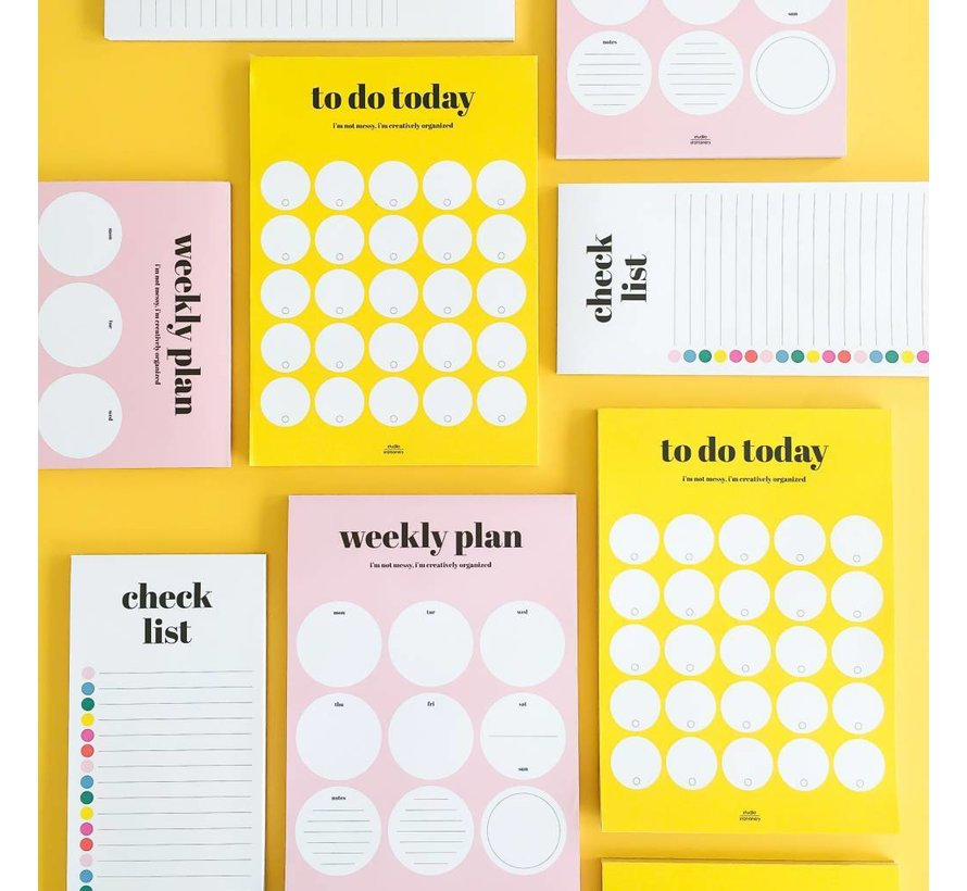 Stationery Weekly Plan Pink Rounds
