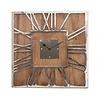 Wandklok Mangohout/Metaal vierkant - 50x5x50 cm