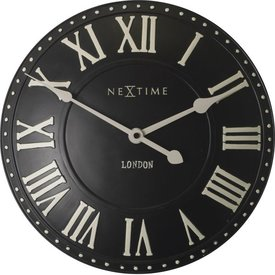 Nextime Wandklok London Roman zwart - Ø 34 cm