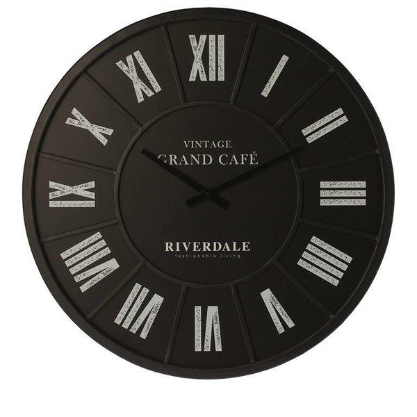 Riverdale Wandklok Grand Café Zwart - Ø63 cm