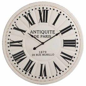 J-Line Wandklok Antiek De Paris Wit/Zwart - Ø113 cm