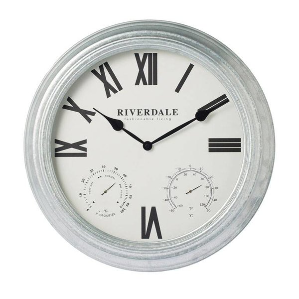 Riverdale Wandklok Outdoor Zilver - Ø50 cm