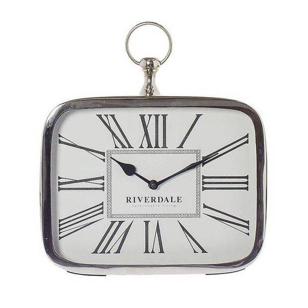Riverdale Tafelklok Luton Zilver - 25x6xH28 cm