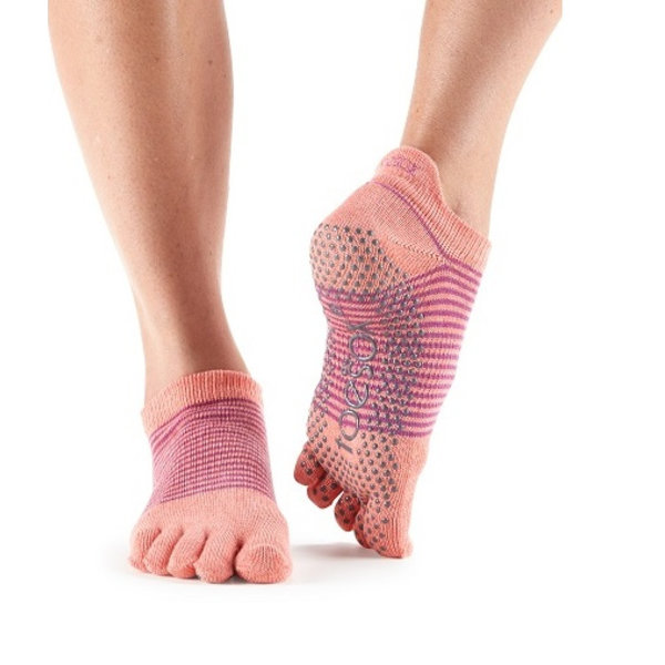 Yoga sokken extra grip persimmon stripe