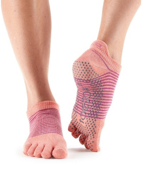 Toesox Yoga sokken extra grip persimmon stripe