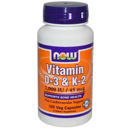 Now Foods Vitamin D-3 & K-2, 1,000 IU / 45 mcg, 120 Veggie Kapseln