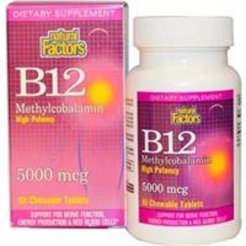 Natural Factors Vitamnin B-12, Methylcobalamin, hohe Potenz, 5000 mcg, 60 Kautabletten