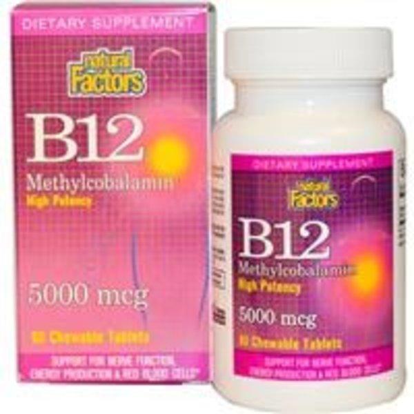 Natural Factors Vitamin B-12, Methylcobalamin, hohe Potenz, 5000 mcg, 60 Kautabletten (1 Kautablette= 83,3% Tagesbedarf)